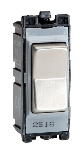 Varilight G102SRS Powergrid Module Steel 10A 2-Way On & Off Retractive Light Switch